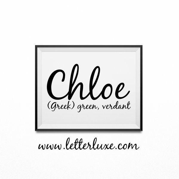 Chloe name meaning art printable baby shower gift nursery art chloe name meaning art printable baby shower gift negle Gallery