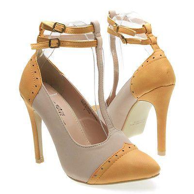 Farb- und Stilberatung mit www.farben-reich.com - Beige Orange Pointy Toe Double Ankle Strap Mary Jane High Heel Pump Shoe US 5-10