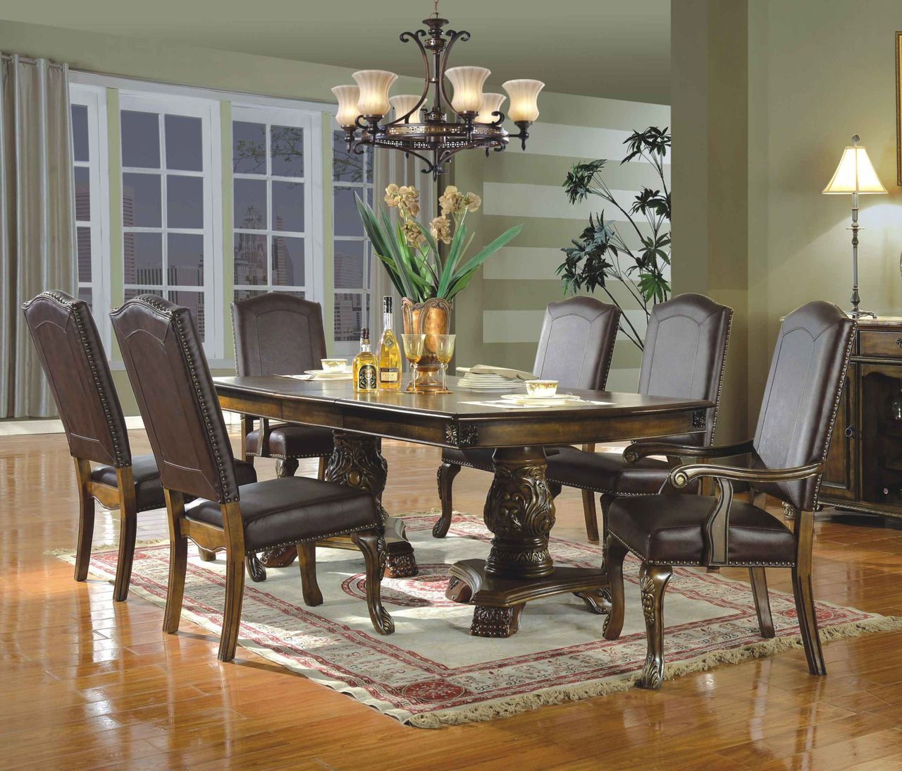 Allen Park 91 Brown Cherry Extendable 7 Pc Dining Table Set Stylish Dining Room Furniture Dining Table Formal Dining Room Sets