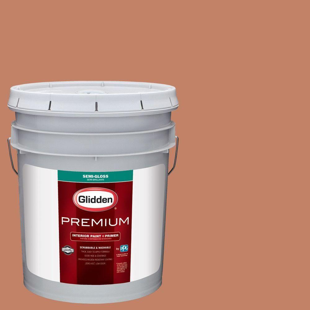 Glidden Premium 5 gal. #HDGO12U Dusty Terra Cotta Semi-Gloss Interior Paint with Primer