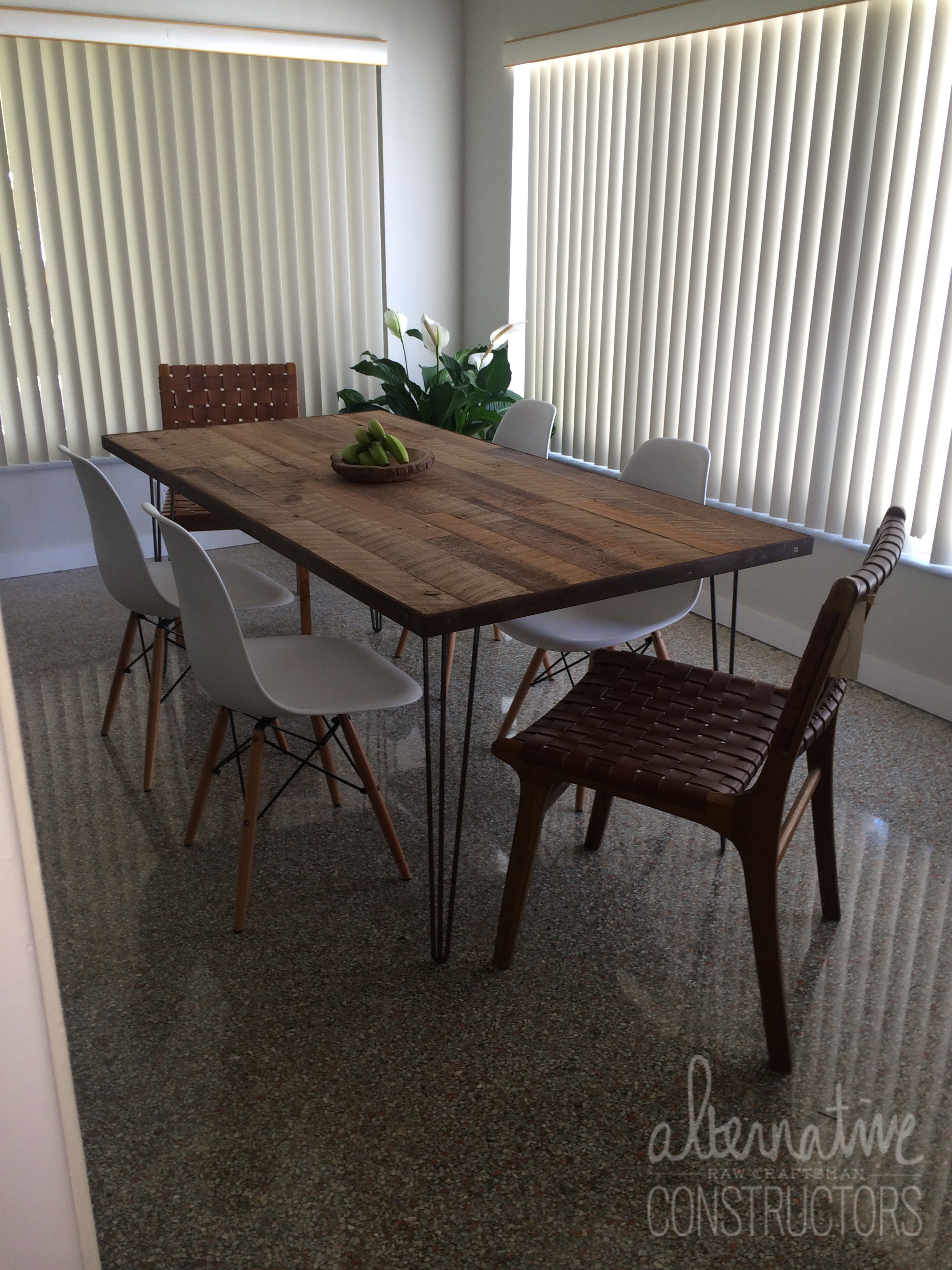 Exceptionnel Custom Reclaimed Wood Table With Steel Pin Base Fabricated For A Home In  Oakland Park, Florida By Alternative Constructors.