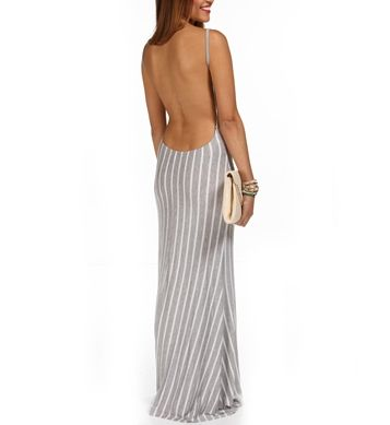 Gray Scoop Back Maxi Dress