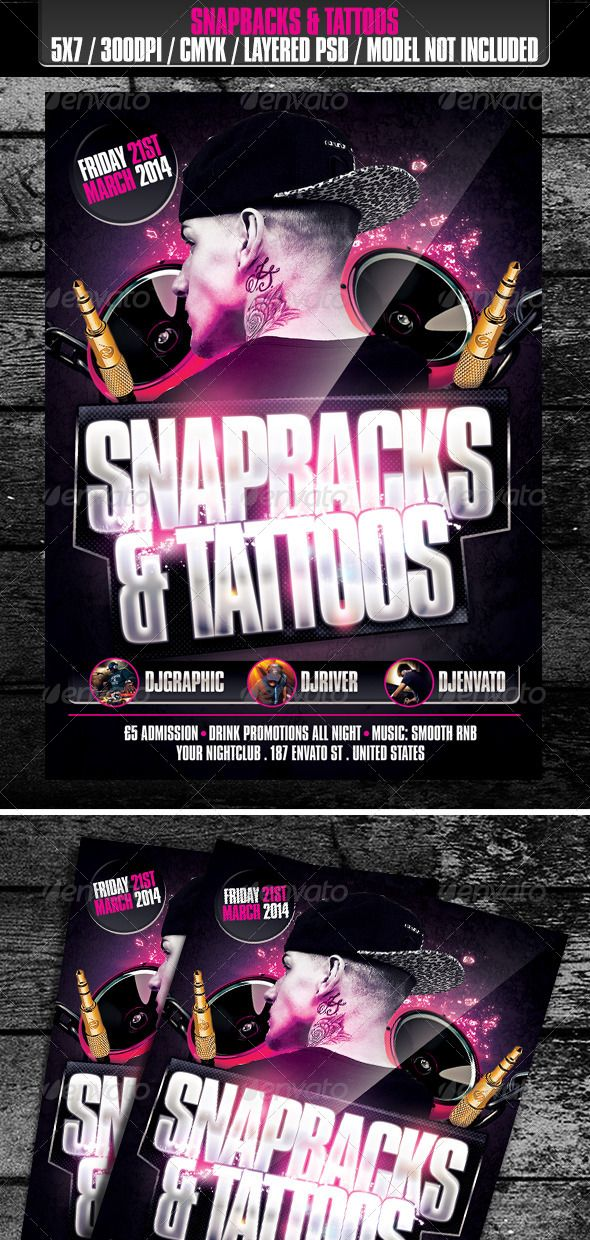 Snapbacks  Tattoos Club Flyer   PThanks For SupportingP