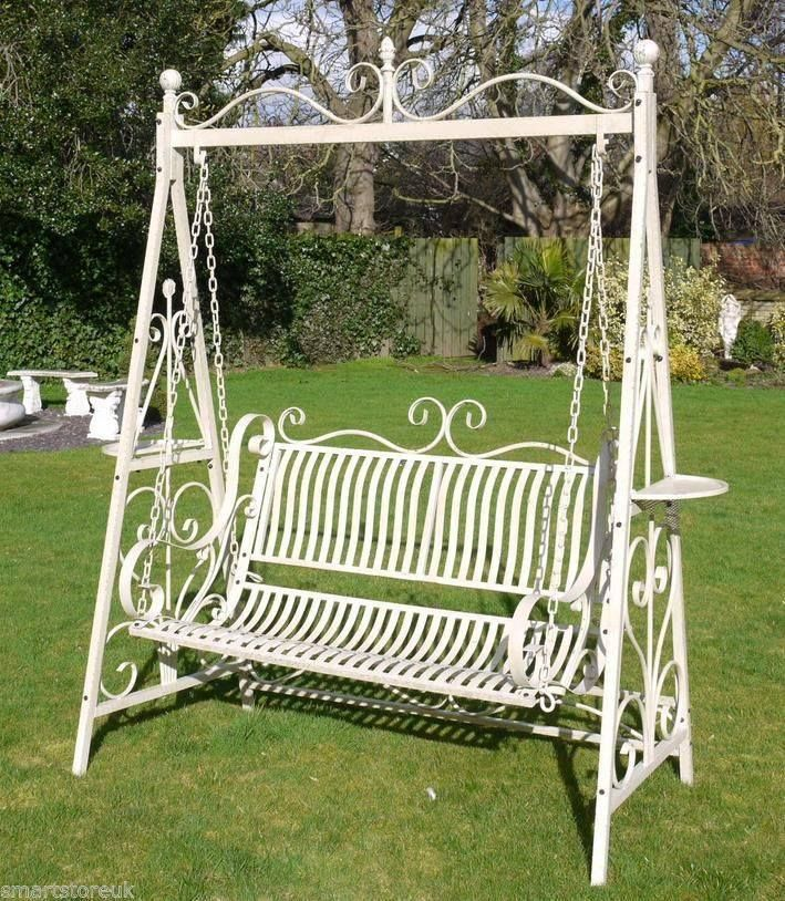 Fabulous Garden Swing Seat Aged Cream Shabby Chic Steel Garden Swing New