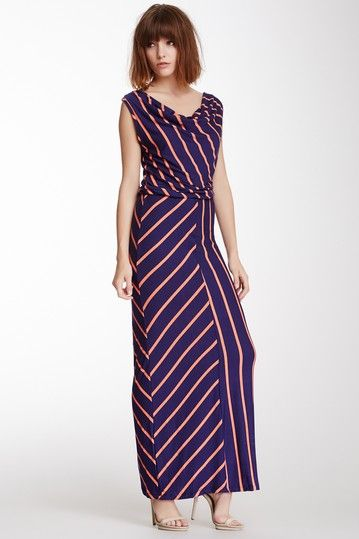 9157484f0e4 Mixed Stripe Cowl Neck Maxi Dress by Fraiche By J on  HauteLook ...