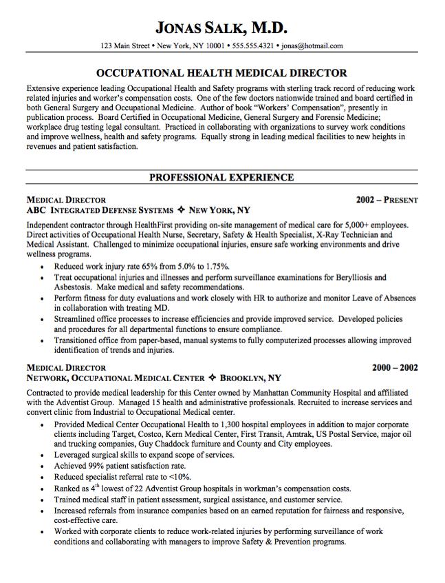 Example Health Medical Director Resume Resumesdesign Pinterest