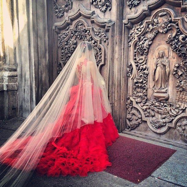 #Red wedding dress; a passionate statement