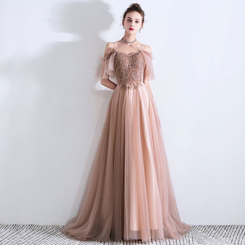 Chic / Beautiful Pearl Pink Evening Dresses  2019 A-Line / Princess Spaghetti Straps Short Sleeve Beading Sweep Train Ruffle Backless Formal Dresses