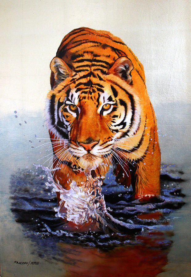 Tiger Paintings On Canvas | Tiger Crossing Water Painting - Tiger Crossing Water Fine Art Print
