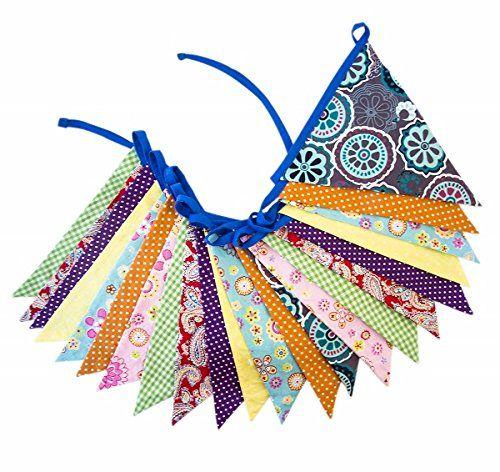 Bunte Wimpelkette 'Multicolor' aus Stoff von global affai…
