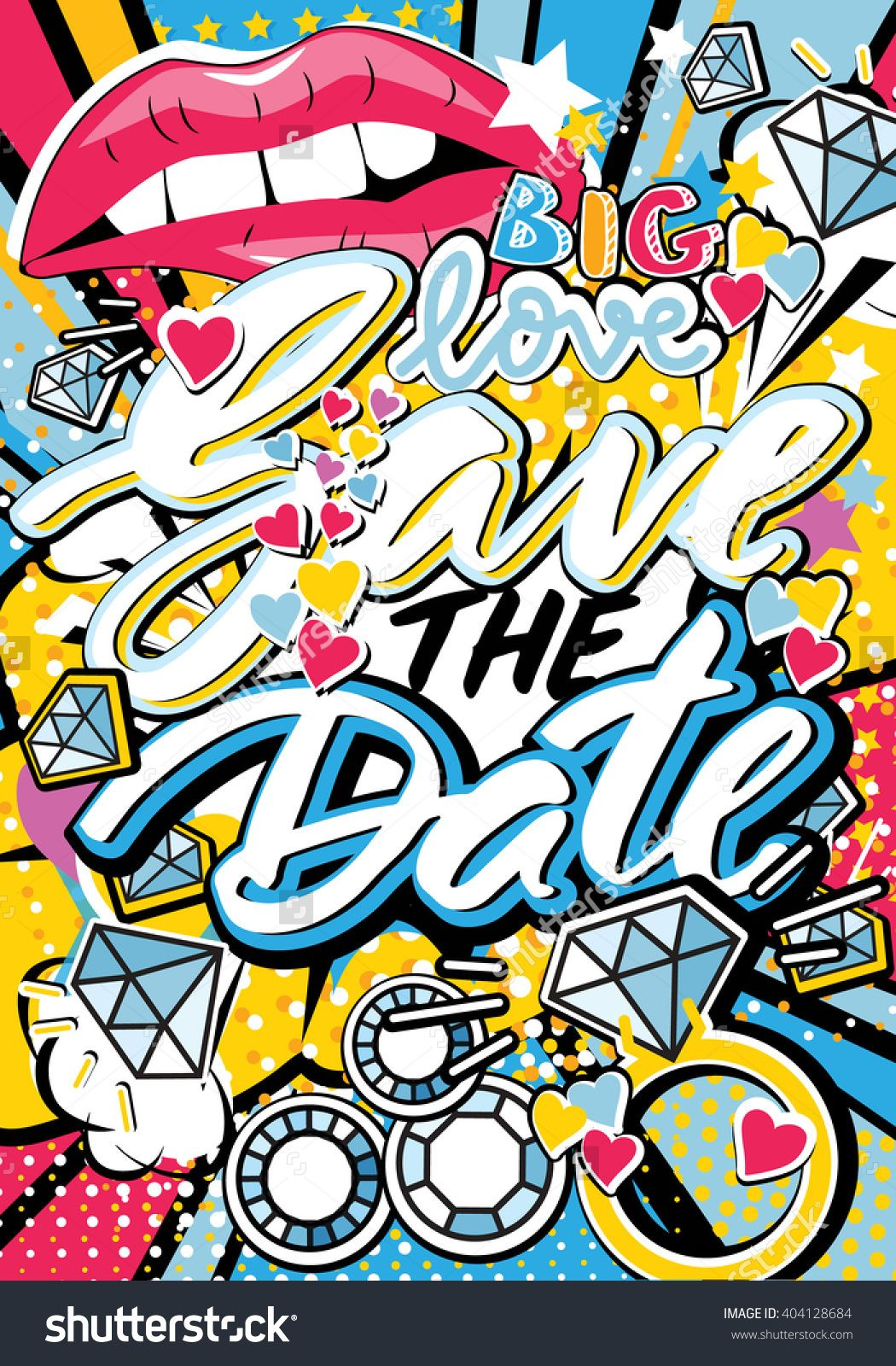 Save The Date Wedding Invitation Card In Pop Art Style With Hand Written Type Lips