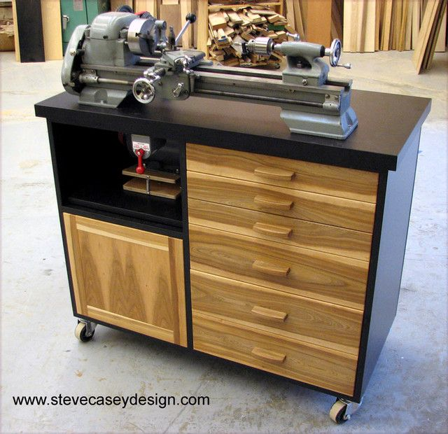 Lathe cabinet for vintage lathe with storage drawers and integral motor drive system