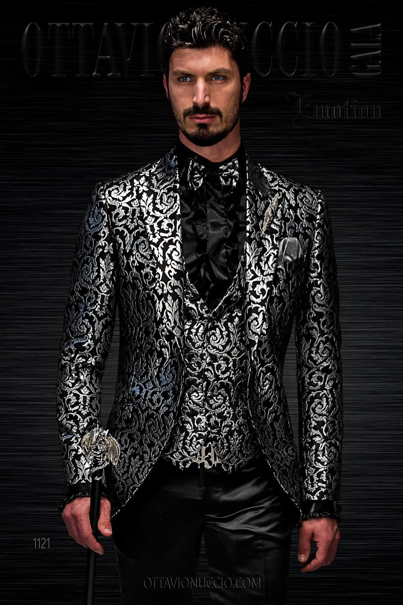 Dress for groom with blacksilver tone brocade jacket mens suits
