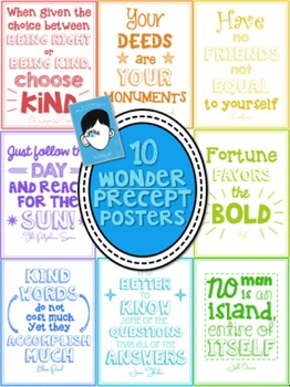 10 Precept Quotation Posters from Wonder (by R.J. Palacio ...
