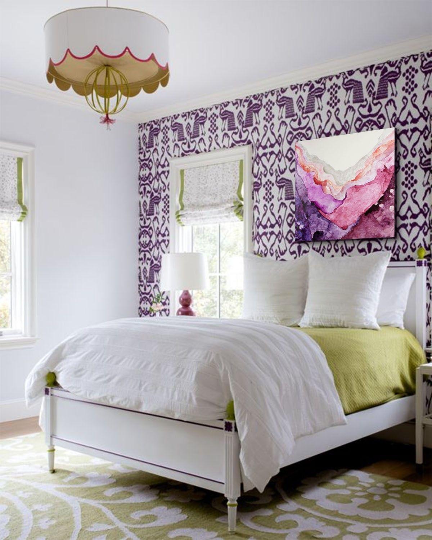 amethyst  one coast design  girls bedroom green purple