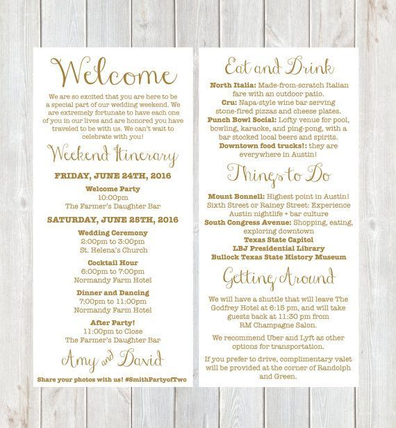 Welcome Letter, Weekend Itinerary, Wedding Itinerary, Gold Welcome - wedding itinerary