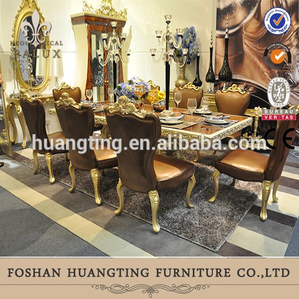 European Baroque Italian Design Elegant Antique Gold Solid Wood Jewelry Royal Leather Dining Room Long Table