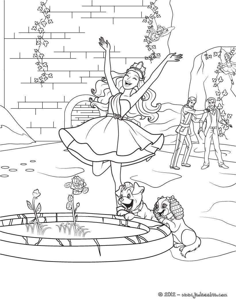 Barbie popstar qui joue dans la fontaine avec ses chiens. Un coloriage Hellokids unique à ...