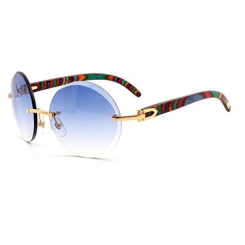 6b8e4dd0b9b Brand Designer Sunglasses Rimless Round Blue Gradient Lens Peacock Wood Gold  Metal Frame Fashion Womens glasses Sunglasses for Men With Box