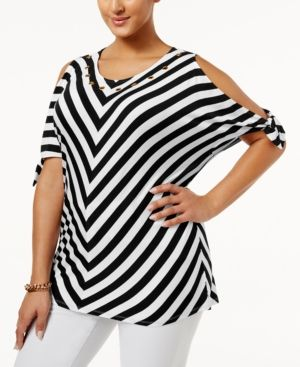 ab59a72dbffa44 Belldini Plus Size Chevron Cold-Shoulder Top - Black 3X | Products ...