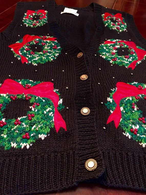men s or woman s ugly christmas knit sweater by bluedaisyclassics