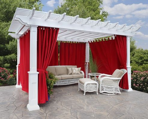 12x16 Vinyl Pergola White Vinyl With Regular Shade Savannah Posts And Curtains Berlin Gardens Visit Www Yourbackyardshop Diy Pergola Vinyl Pergola Pergola