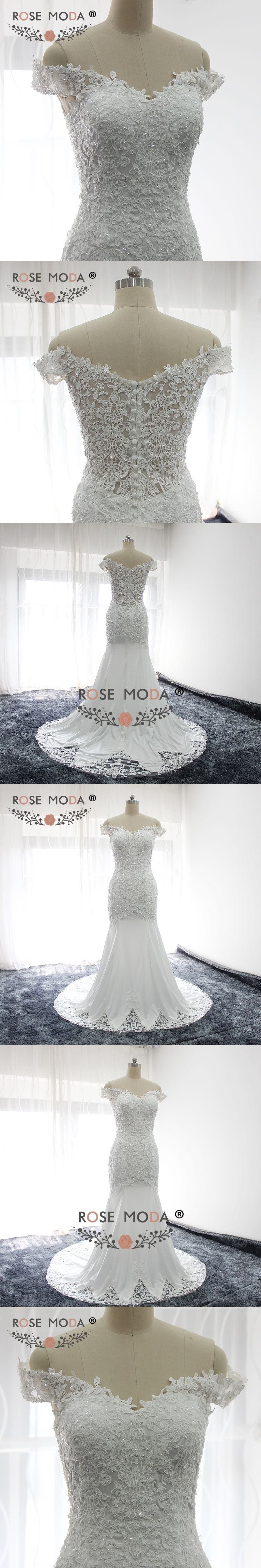 Rose moda off shoulder lace boho wedding dress mermaid wedding