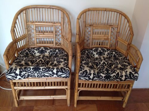 Pair of Mid Century Bamboo & Rattan Cane Chinese Chippendale