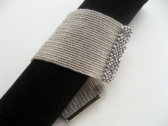 "Herringbone bracelet by ""GULDENTAKI"" on Etsy. (Looks like there are bicone crystals in RAW at each end)"