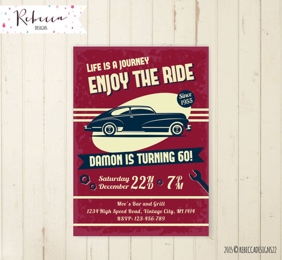 Car Birthday Invitation Vintage 21st 30th 40th 50th Bi