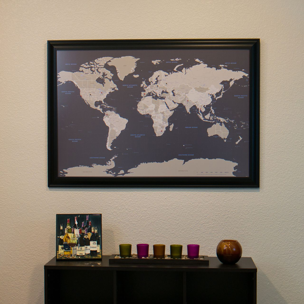 Earth Tone World Travel Map with pins Guest Room