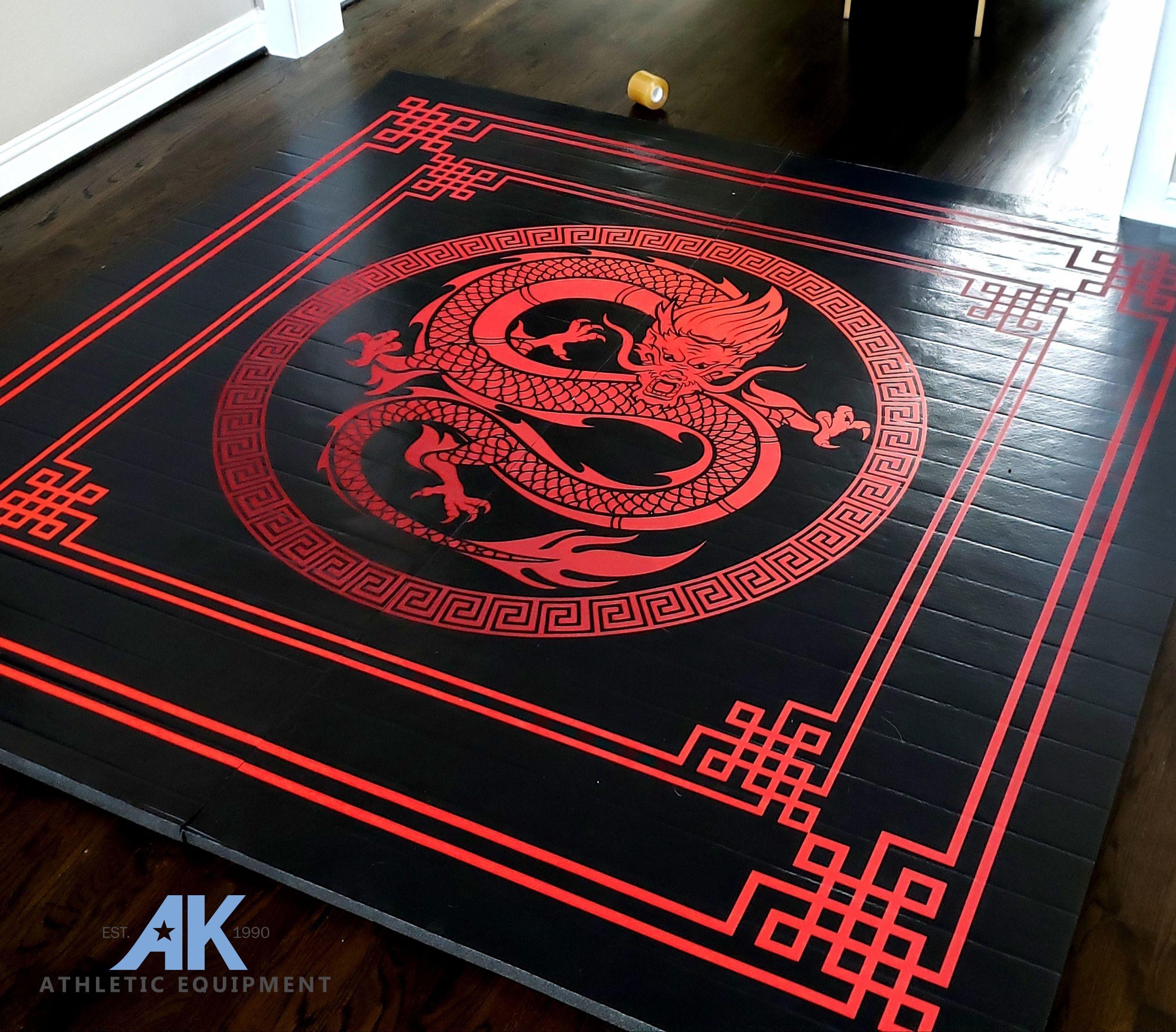Dragon Digitally Printed 8 X 8 X 1 3 8 Roll Up Mma Grappling Mat Martial Arts Mats Martial Arts Training Equipment Martial Arts
