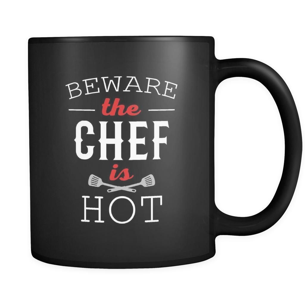 Chef Mug Cute Chef Design on Black ceramic 11oz Mug