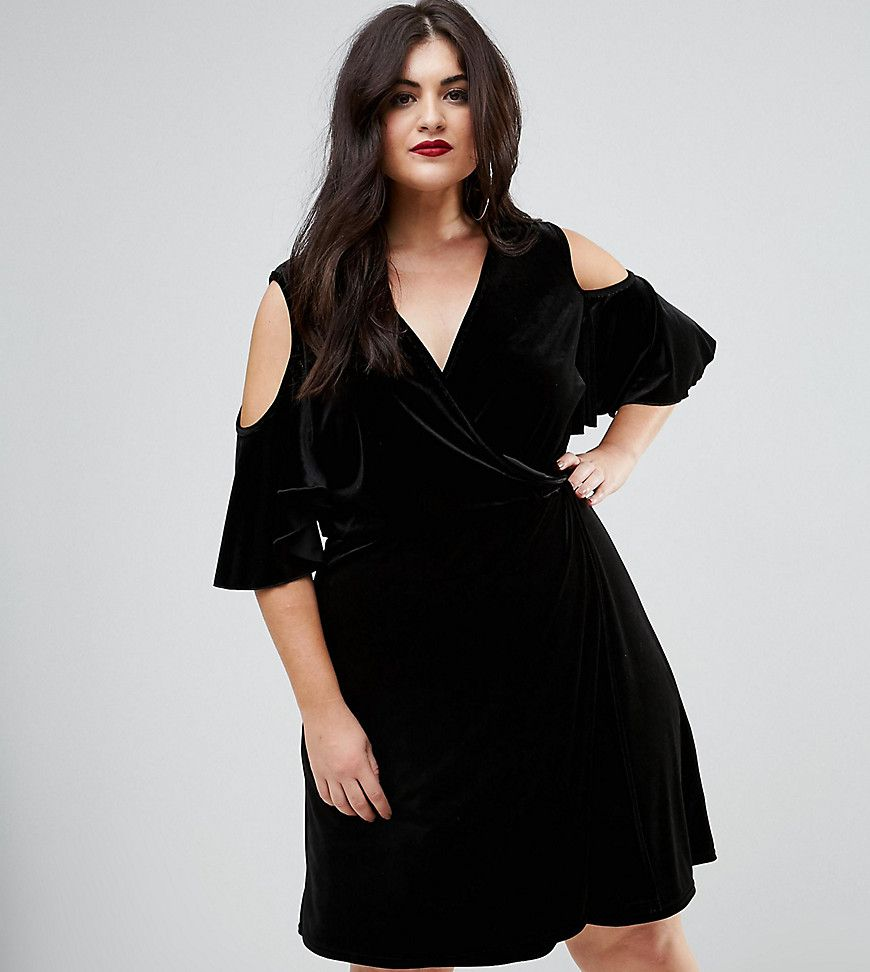 Boohoo Plus Velvet Cold Shoulder Wrap Over Dress Black
