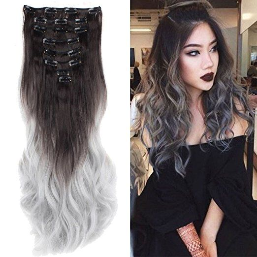"""S-noilite 24"""" Ombre Dip Dye Long Curly Clip in Hair Extensions, Two Tone Thick Full Head Synthetic Hairpieces (Dark Brown to Silver Gery) Women Fashion Hairstyle"""