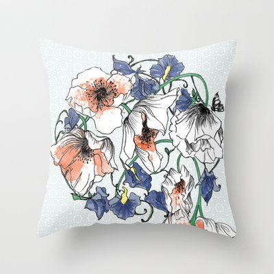 Poppys+and+Sweetpeas+Throw+Pillow+by+Esther+Pallett+-+$20.00