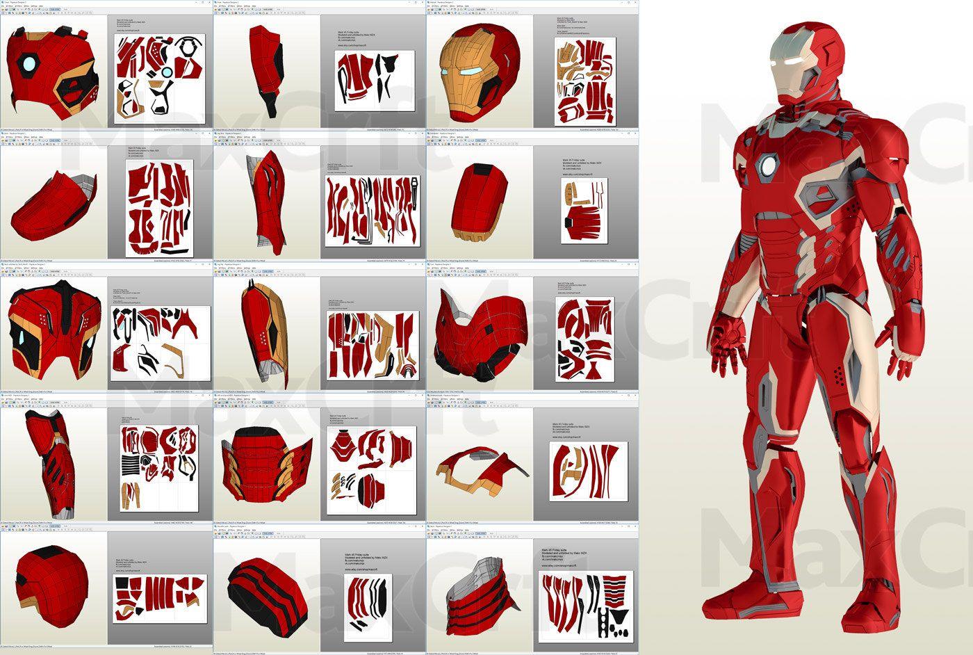 Mark 48 50 Wearable Suit Upd 10 Pepakura Pattern Diy Etsy Mascara De Iron Man Traje De Iron Man Patrones