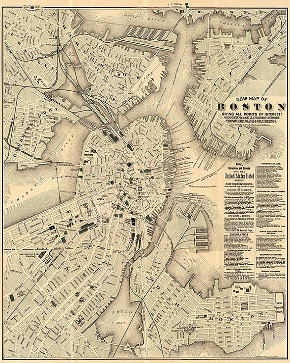 Map of Boston 1884 Restoration Hardware Home Deco Style Old Wall
