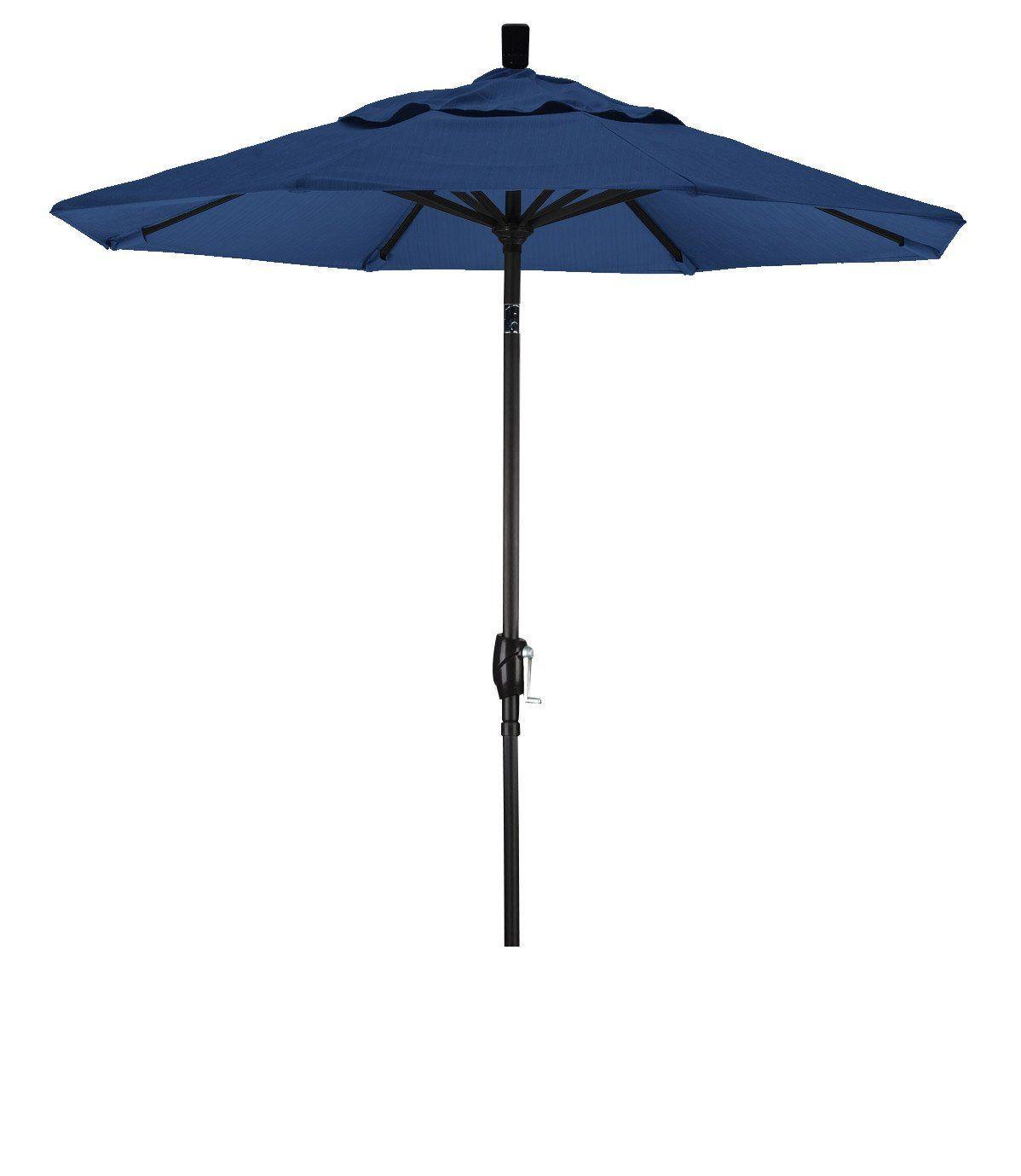 Eclipse Collection 7.5' Aluminum Market Umbrella Push Tilt M Black/Pacifica/Sapphire