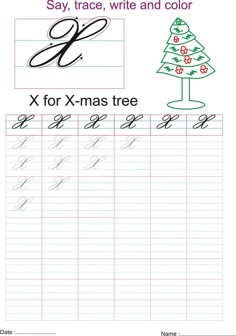 Cursive captial letter X worksheet Handwriting analysis