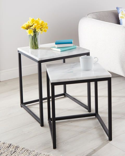 Marble Nested Tables in 2020 | Marble top coffee table, Table, Home furniture