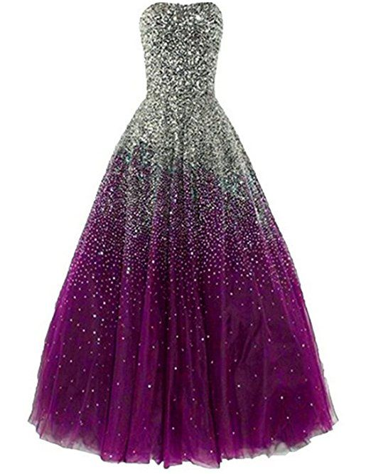 ead94ff1d11 Amazon.com  Uryouthstyle Strapless Prom Gowns A-line Long Sparkly Evening  Dresses  Clothing