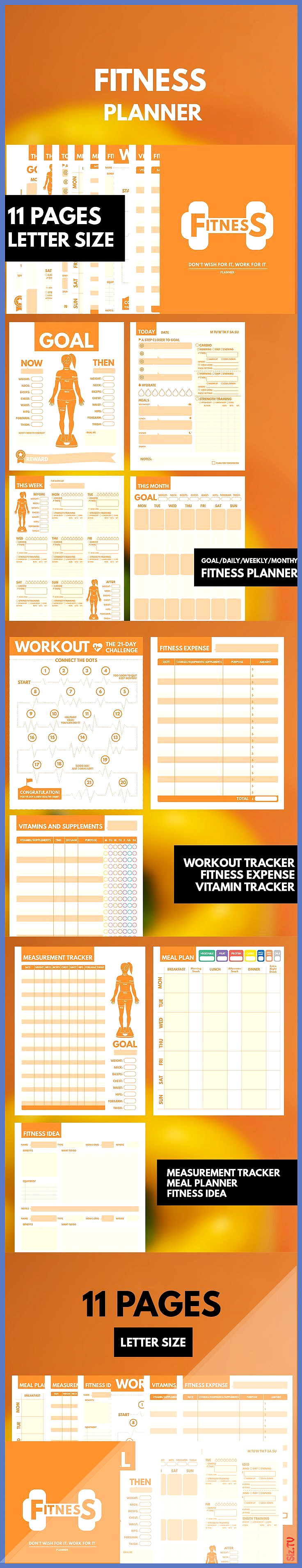 Fitness Planner Printable Letter Workout Planner Fitness Journal Printable Health Planner Exercise P...