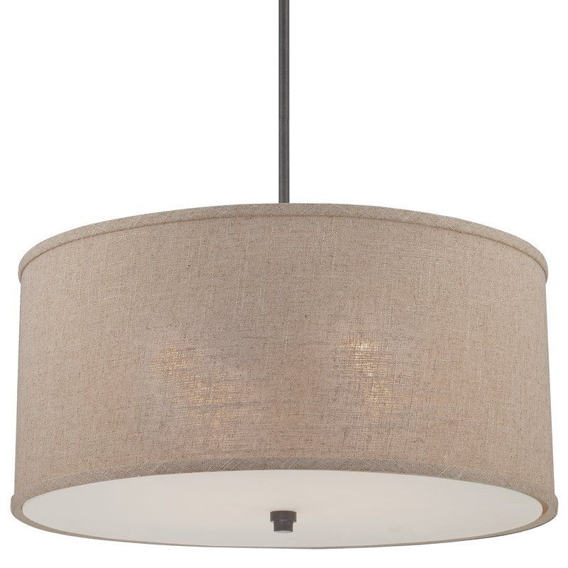 Popular View the Quoizel CRA2822 Cloverdale 4 Light Drum Pendant with Khaki Fabric Shade at LightingDirect Contemporary - Awesome drum pendant lighting
