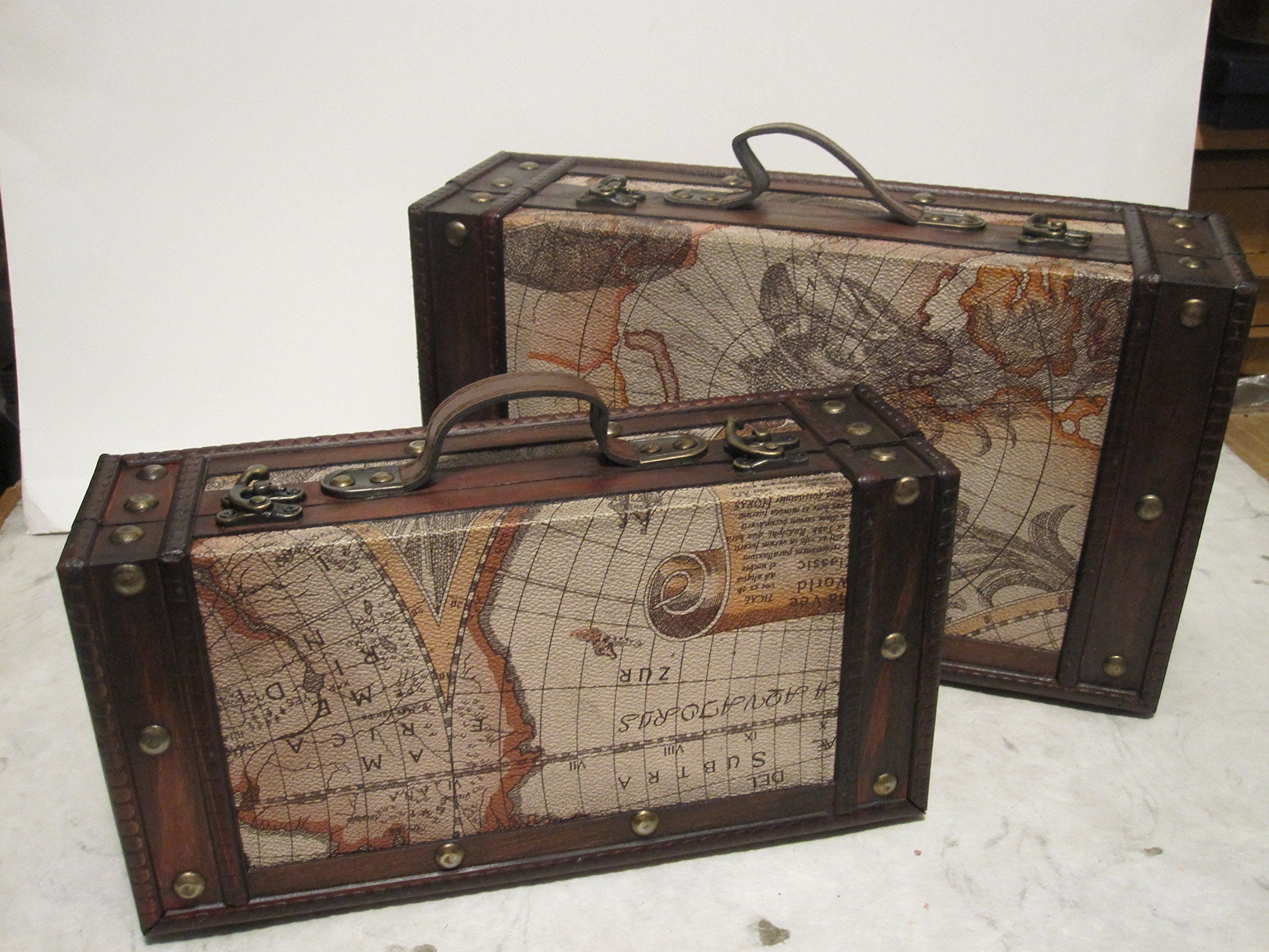40 6 ship set of 2 old world map wooden suitcase trunk box 40 6 ship set of 2 old world map wooden suitcase trunk box gumiabroncs Image collections
