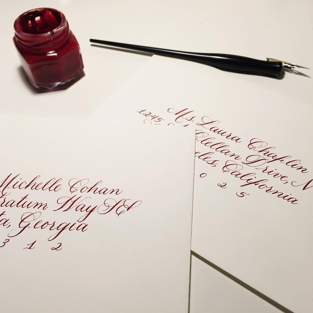 Fall Wedding Inspiration Cranberry Wedding Envelopes Calligraphy