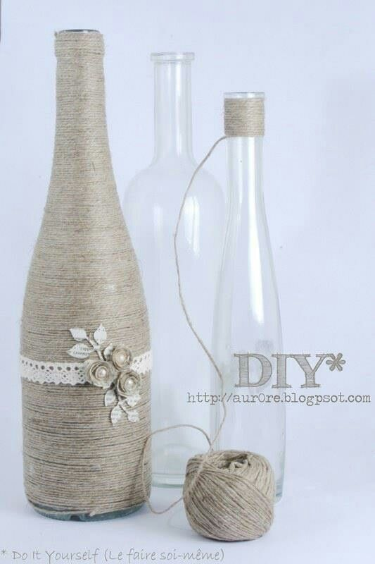 Bottle decorated with string twining repurposing packaging twine wrapped wine bottle and other diy bottle ideas solutioingenieria Images