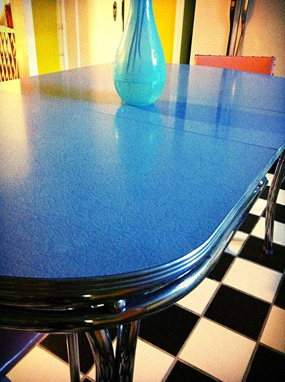 1950 S Mid Century Blue Moon Glow Formica Kitchen Table By Hueisit