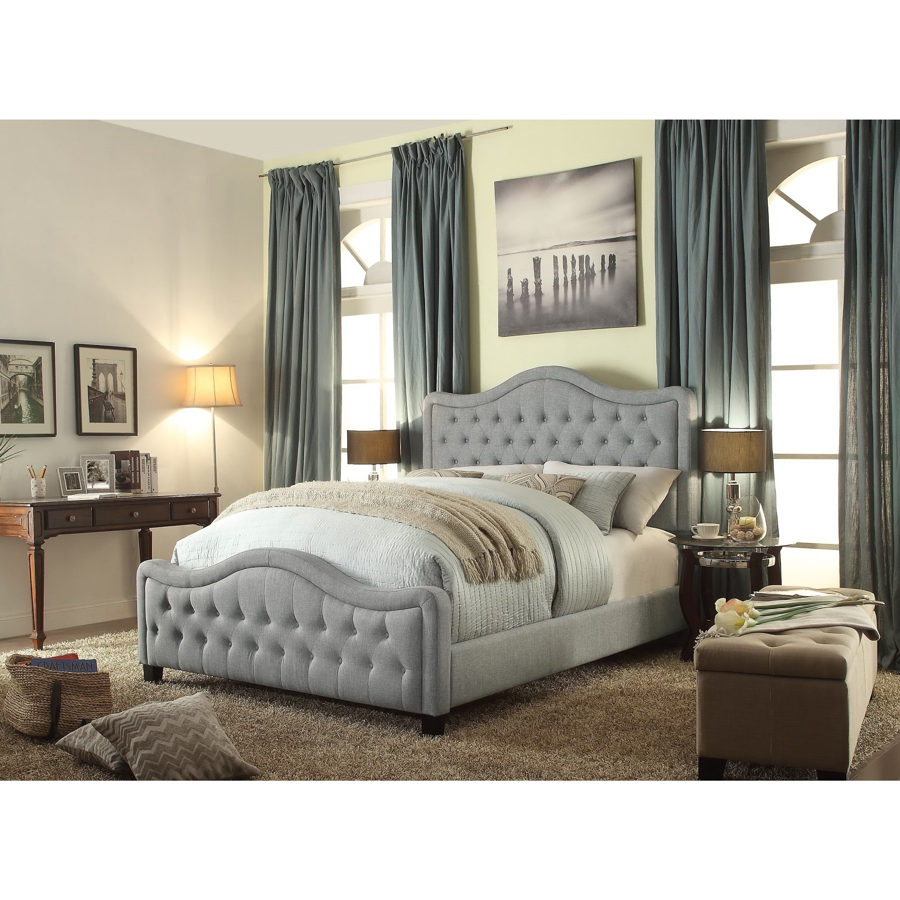 moser bay furniture adella linen grey queen waved top upholstery bed