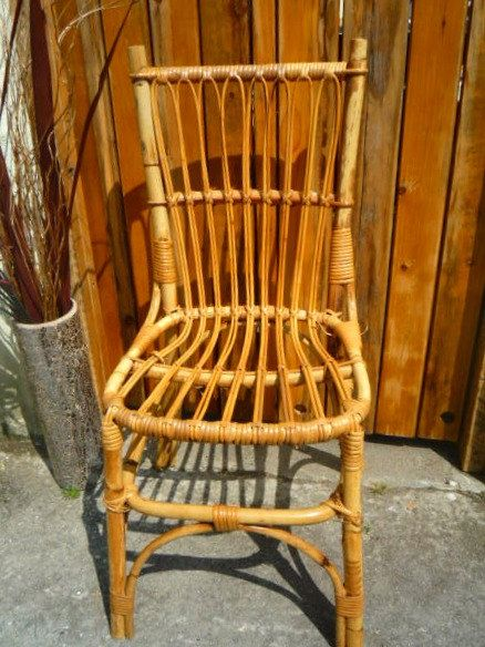 Vintage Bamboo Chair with Cane Spindles and Rattan Joints